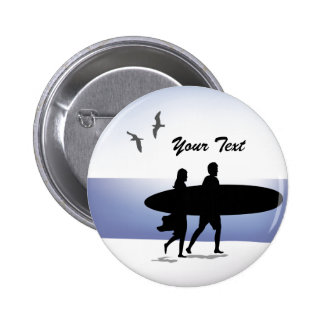 Surf Couple on the Beach Pin Back Button
