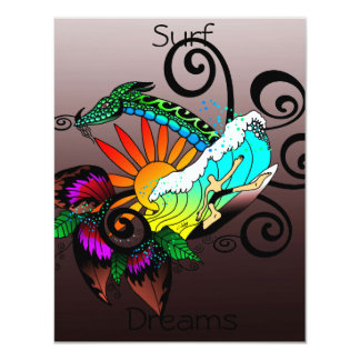 Surf Dreams Dark Red 11 Cm X 14 Cm Invitation Card