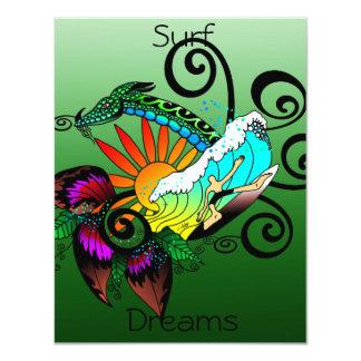 Surf Dreams Green 11 Cm X 14 Cm Invitation Card