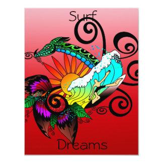 Surf Dreams Red 11 Cm X 14 Cm Invitation Card