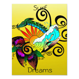 Surf Dreams Yellow 11 Cm X 14 Cm Invitation Card