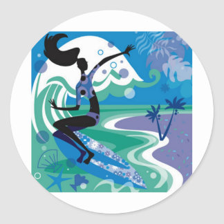 surf enjoy round sticker