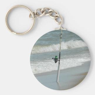 Surf Fishing Basic Round Button Key Ring