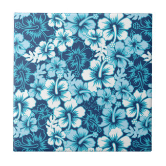 Surf Floral Hibiscus Pattern Small Square Tile