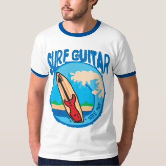Surf Guitar: Red Guitar on Surfboard. Wipe Out! T-Shirt