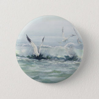 SURF GULLS & SEA by SHARON SHARPE 6 Cm Round Badge