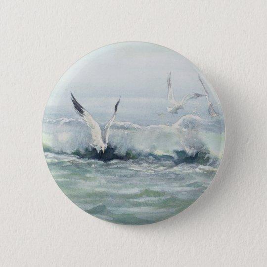 SURF GULLS & SEA by SHARON SHARPE 6 Cm Round Badge