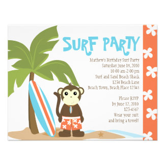Surf Monkey Personalized Invitation