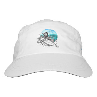 Surf Octopus, Custom Woven Performance Hat, White Hat