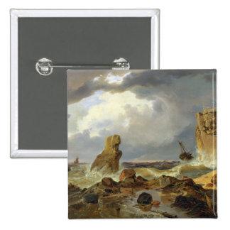 Surf on a Rocky Coast, 1835 15 Cm Square Badge