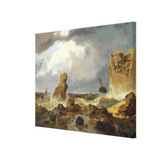Surf on a Rocky Coast, 1835 Canvas Print