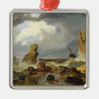 Surf on a Rocky Coast, 1835 Christmas Ornament