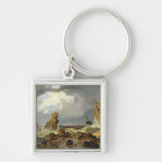 Surf on a Rocky Coast, 1835 Silver-Colored Square Key Ring