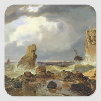 Surf on a Rocky Coast, 1835 Square Sticker