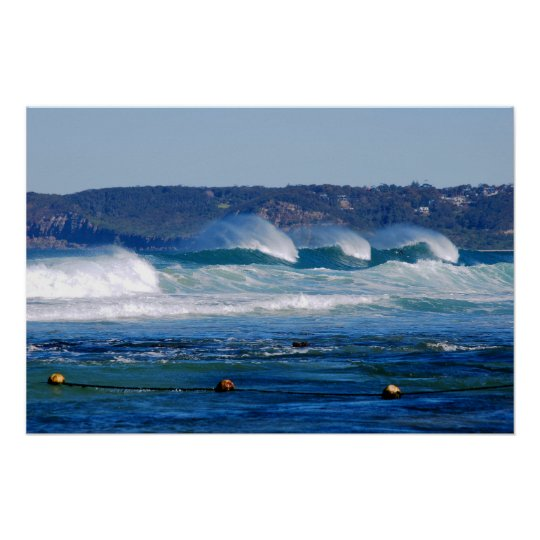 Surf Rolling In - Newcastle Beach NSW Australia Poster