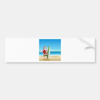 Surf Santa on the beach Bumper Sticker