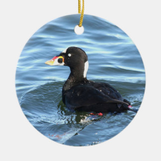 Surf Scoter Duck Double-Sided Ceramic Round Christmas Ornament