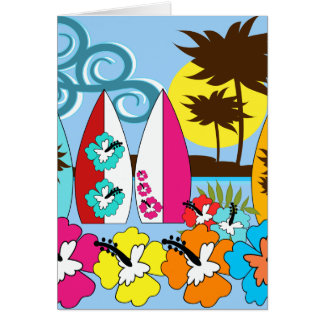 Surf Shop Surfing Ocean Beach Surfboards Palm Tree Card