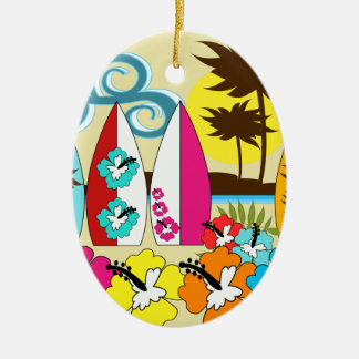 Surf Shop Surfing Ocean Beach Surfboards Palm Tree Christmas Ornament