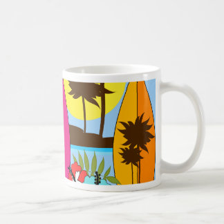 Surf Shop Surfing Ocean Beach Surfboards Palm Tree Coffee Mug