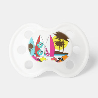Surf Shop Surfing Ocean Beach Surfboards Palm Tree Baby Pacifiers