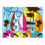 Surf Shop Surfing Ocean Beach Surfboards Palm Tree Postcards