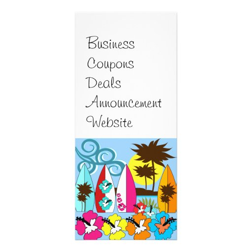 Surf Shop Surfing Ocean Beach Surfboards Palm Tree Rack Card Design