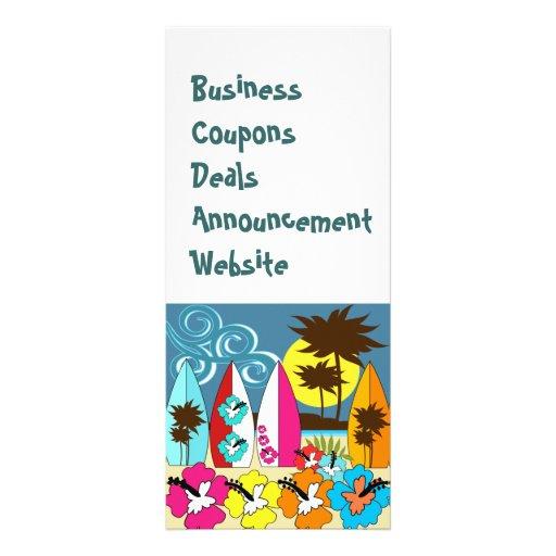 Surf Shop Surfing Ocean Beach Surfboards Palm Tree Full Color Rack Card
