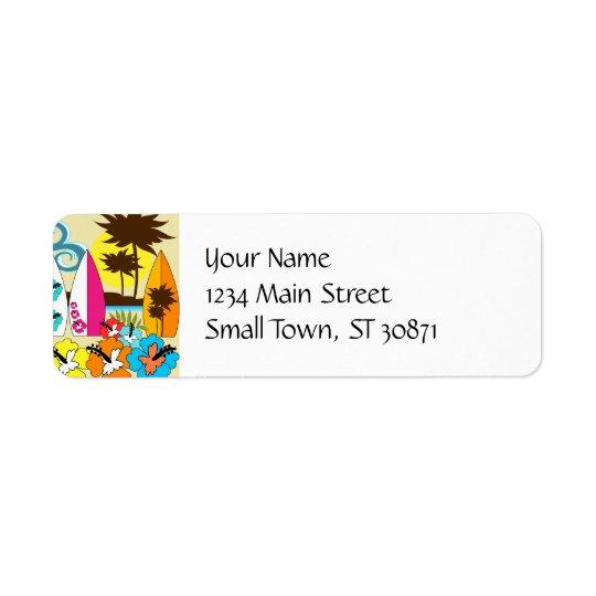 Surf Shop Surfing Ocean Beach Surfboards Palm Tree Return Address Label