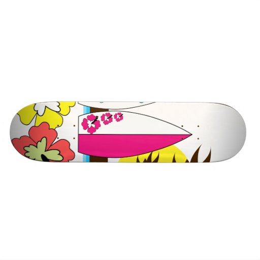 Surf Shop Surfing Ocean Beach Surfboards Palm Tree Skateboard