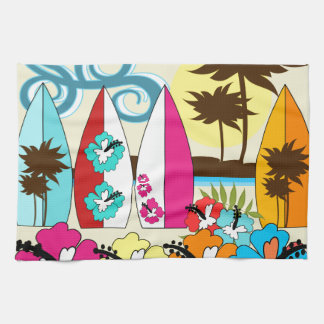 Surf Shop Surfing Ocean Beach Surfboards Palm Tree Tea Towel