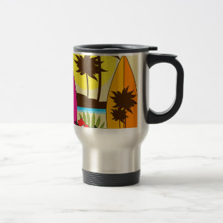 Surf Shop Surfing Ocean Beach Surfboards Palm Tree Travel Mug