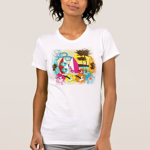 Surf shop surfing ocean beach surfboards palm tree t for Surf shop tee shirts