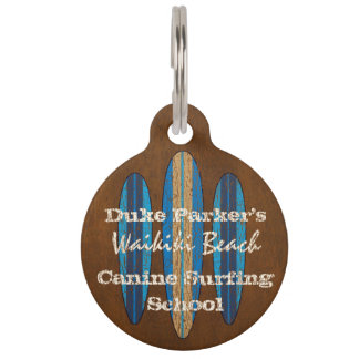 Surf Sign Customize Monogram Hawaiian Surfboards Pet Name Tag