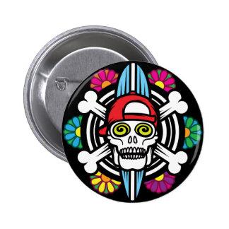Surf Skull 6 Cm Round Badge