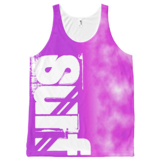 Surf Slogan Neon Bright Purple and Pink Tint Sky All-Over Print Tank Top