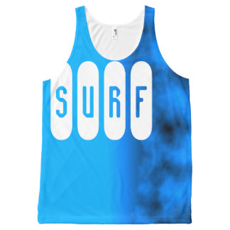 Surf Slogan Neon Cerulean Water Blue Night Sky All-Over Print Tank Top