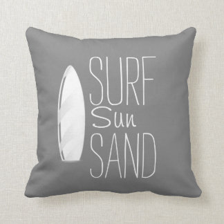 Surf Sun Sand Pillow Gray