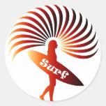 surf surfer surfing board wave sun beach round stickers