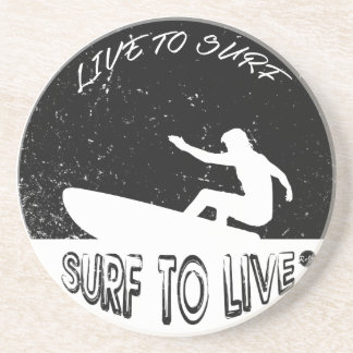 Surf To Live Drink Coasters