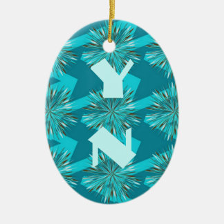 Surf & Turf Pattern Collection Double-Sided Oval Ceramic Christmas Ornament
