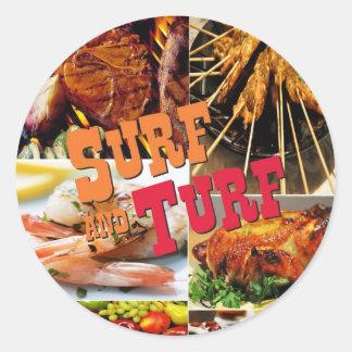 Surf & Turf Round Sticker