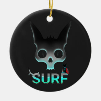 Surf Urban Graffiti Cool Cat Round Ceramic Decoration