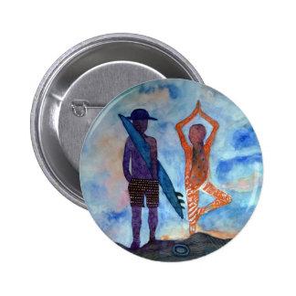 Surf Yoga Sunset Drawing  Boho Badge