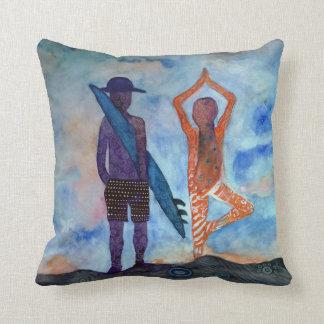 Surf Yoga Sunset Fairy Drawing Throw Cushion