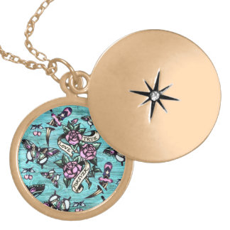 Surfabilly icons on blue wood background pendant