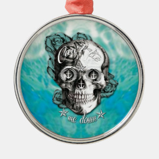 Surfabilly Nautical rose skull on waves background Christmas Ornament