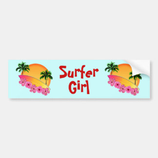 Surfboard and Hibiscus Flowers Bumper Sticker