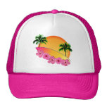 Surfboard and Hibiscus Flowers Hats
