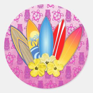 Surfboard and Hibiscus Flowers Round Sticker